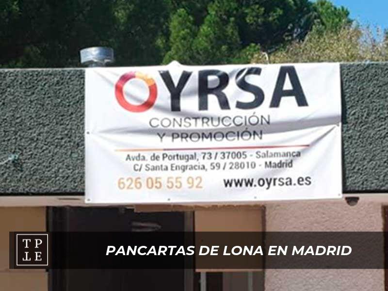 Pancartas de lona en Madrid: Oyrsa
